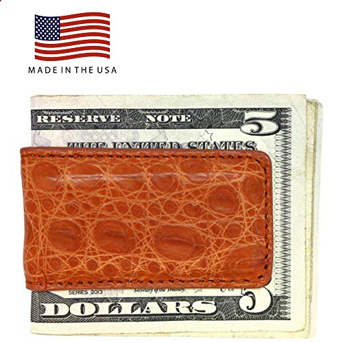 Cognac Matte Genuine Crocodile Money Clip - Magnetic - American Factory Direct - Strong Shielded Magnets - Money Holder - Money Holder - Made in USA by Real Leather Creations - Usa Wallet Genuine