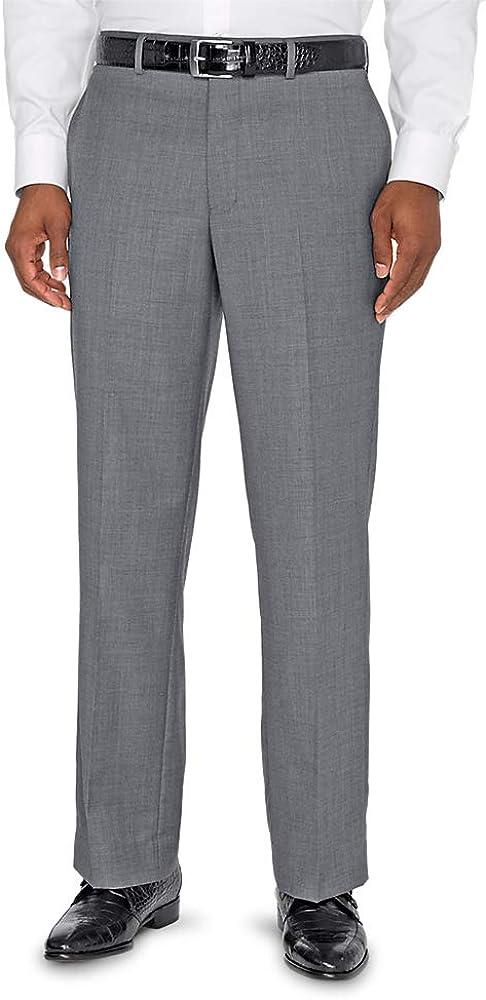 Paul Fredrick Men's Classic Fit Sharkskin Flat Front Suit Pant