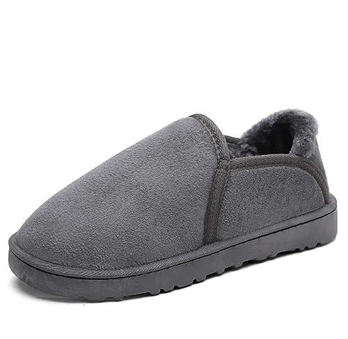 d73655768472 JINGJING Cozy Memory Foam Slippers Mens Anti-Skid Warm Plush Fur Lined House  Shoes Slippers