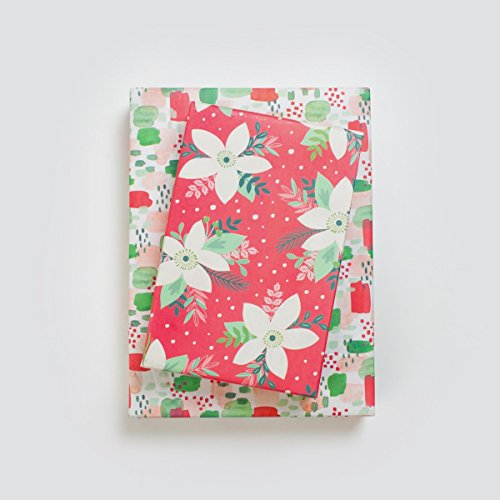 Christmas Holiday Poinsettias Floral Gift Wrap Set - Reversible Wrapping Paper with Ribbon, Gift Tags - Wrappily Eco-Friendly Gift Wrap Co.