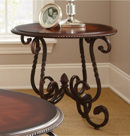 Modern Living Room Metal and Wood Round Table Canterbury Round Table