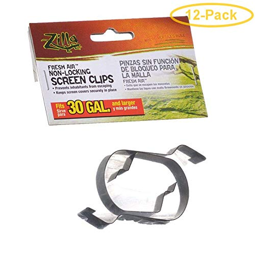 Zilla Fresh Air Non-Locking Screen Clips 30 Gallon Tanks and Up - Pack of 12 ()