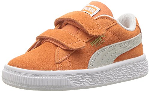 PUMA Baby Suede Classic Velcro Kids Sneaker, Melon White, 4 M US Toddler ()