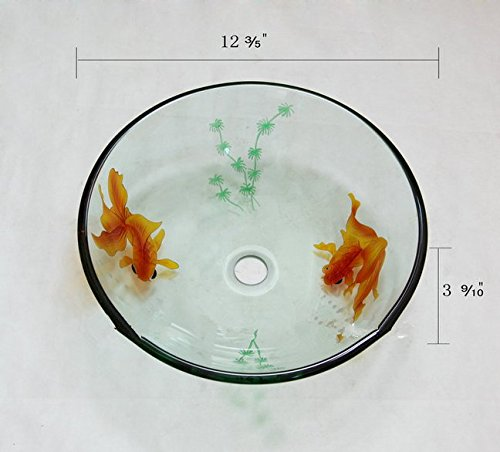GOWE Goldfish Artistic Victory Vessel Wash Basin Tempered Glass Sink Bathroom Basin With Brass 1