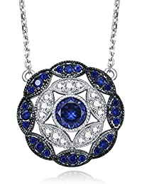 Antique Vintage 925 Sterling Silver Created Blue Sapphire Cluster Statement Necklace for Women