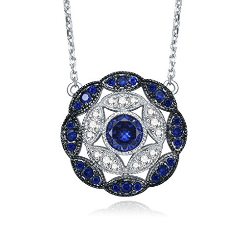 (Merthus Antique Vintage 925 Sterling Silver Created Blue Sapphire Cluster Statement Necklace for Women)
