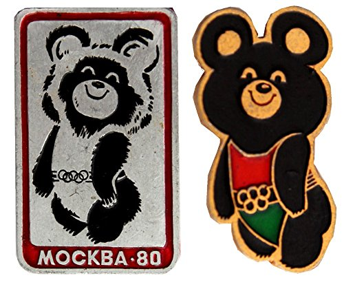 Russian Moscow Olympic pins-Olympic Misha-Symbol of 1980 Olympic Games -Set of 2 (Moscow 1980 Olympic Games)