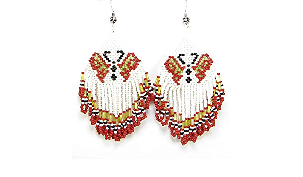 and Pierced Earrings RED and WHITE Beads with Metal BUTTERFLIES Jewelry Set includes Necklace one of a kind. Bracelet Handmade