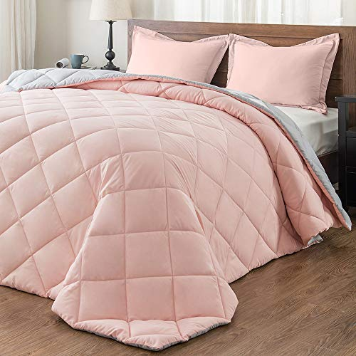 downluxe Lightweight Solid Comforter Set (Queen) with 2 Pillow Shams - 3-Piece Set - Pink and Grey - Down Alternative Reversible Comforter (Pink Full Bed Set)
