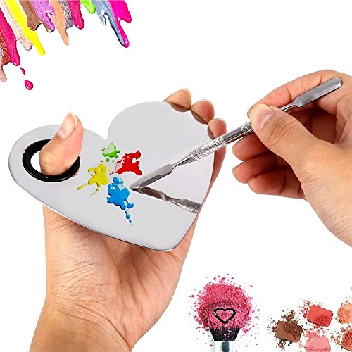 NEW Heart Shape Makeup Palette Spatula Fashion Stainless Steel Pallet Makeup Artist Tools for Blending Cosmetic Foundation Shades Kit ()