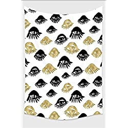 Nalahome-Trippy Decor Trendy Sexy Woman Eyes with Eyelash Unusual Style Fashion Icon Modern Design Gold Black Tapestry Wall Hanging Wall Tapestries 10L x 8W Inches