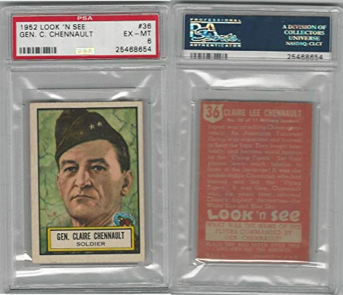 1952 Topps, Look 'N See, 36 General Claire Chennault, PSA 6 EXMT
