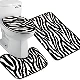 ULTNICE 3pcs Zebra Bathroom Mat Flannel Lid Toilet Cover Set