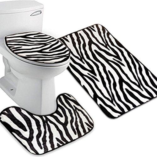ULTNICE 3pcs Zebra Bathroom Mat Flannel Lid Toilet Cover Set by ULTNICE