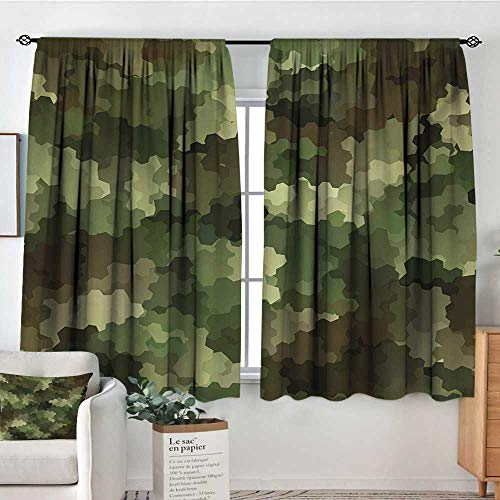 "Mozenou Camo Custom Curtains Frosted Glass Effect Hexagonal Abstract Being Invisible Woodland Print Customized Curtains 63"" W x 63"" L Green Pale Green and Brown"