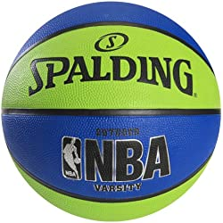 "Spalding NBA Varsity Outdoor Rubber Basketball - Green/Blue - Official Size 7 (29.5"")"