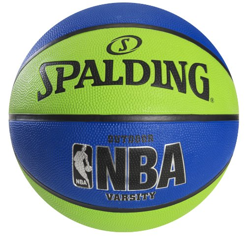 Spalding NBA Varsity Outdoor Rubber Basketball - Green/Blue - Official Size 7 (29.5