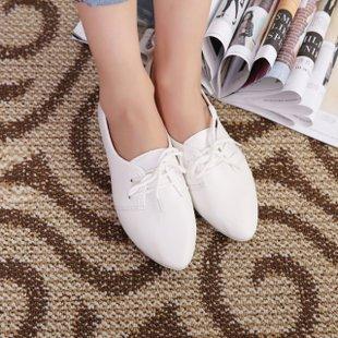 Dei Piselli Xieliang Unico Piatto Occasionale Scarpe Pelle Femminile,White,Eu37,Cn38