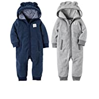 Carter's Baby Boys 2 Pack Fleece Hooded Coverall Jumpsuits Soft and Cozy (3 m...