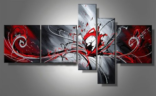Outbreak of red radiation Unique Modern Wall Art On Canvas Set Of 5