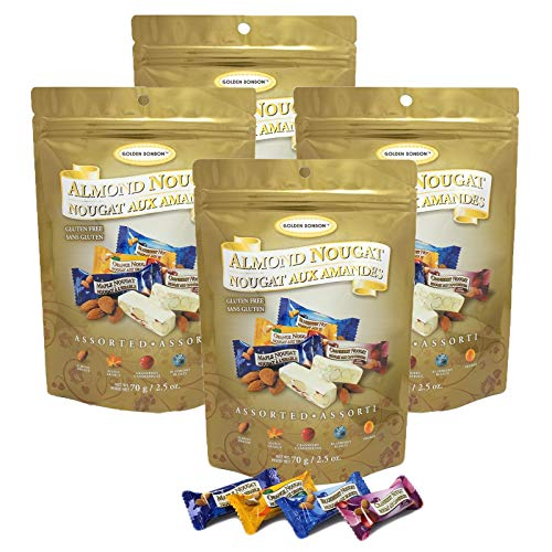 Assorted Almond - Golden Bonbon Gluten Free Almond Nougat Chewy Candy 2.5oz, 4 Packs (Assorted Soft)