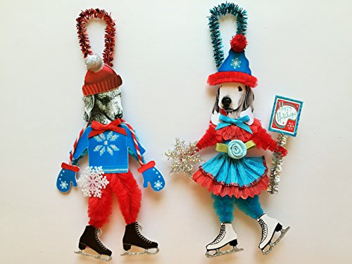 Bedlington Terrier ICE SKATER Christmas ornaments holiday dog ornaments vintage style chenille ORNAMENTS set of 2