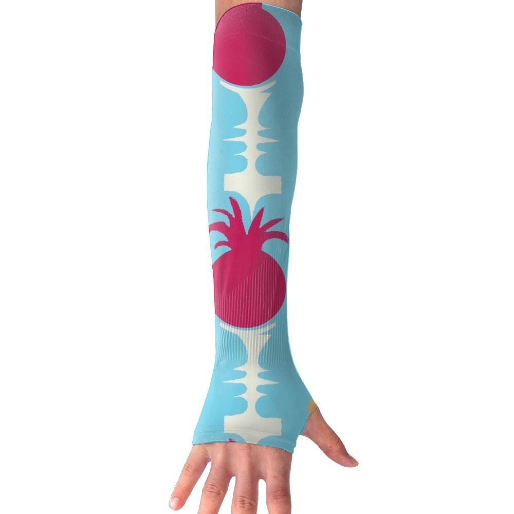 Huadduo Pineapple Stripes On Blue Womens Anti-uv Sun Protection Cooling Arm Sun Sports Sleeves Gloves