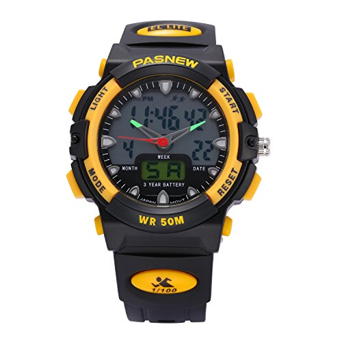 Jewtme Kids boy watches 50m Digital-analog Water-proof Sport Swimming Digital Watch for Boys Girls-Yellow