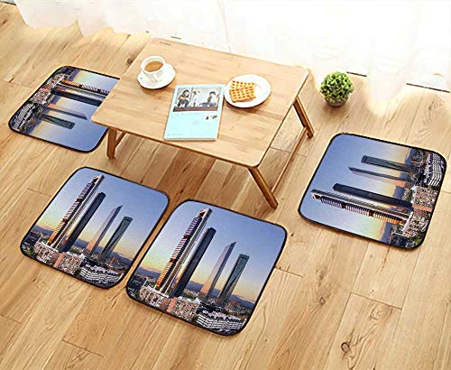 UHOO2018 Fillet Chair Cushion Madrid Spain Financial District Skyline at Dusk Suitable for The Chair W13.5 x L13.5/4PCS Set