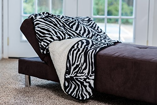 Dual Pocket Zebra - Footsie Signature Zebra Print Super Soft Warm Polar Faux Fir with Sherpa (Dual Throw AND Foot Pocket Blanket)