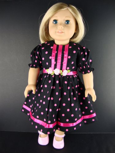 Black Dress with Large Pink Polka Dots Designed for 18 Inch Doll Like the American Girl Dolls