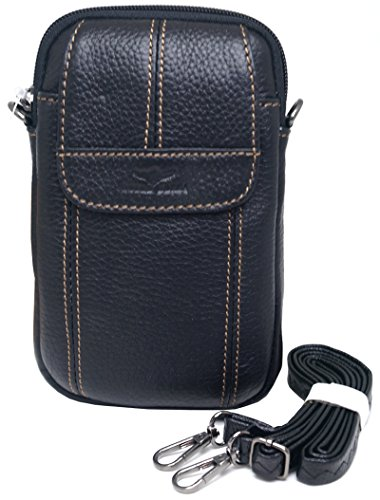 Small Bag Waist Pack Messenger Bags Tactical Cellphone Phone Pouch Leather Travel Bags Cases Holsters Saddlebag (E25 Black)