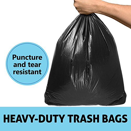 Duty Trash Bag | 50 counts 65 gallons Capacity Heavy-Duty 1.5 mil Thickness No Leak or Tear Weatherproof Low-Density Can Liners | 47'' x 55'' HDPE Puncture-Resistant Black Garbage Bag | 1580 by Big Bag Trash (Image #1)