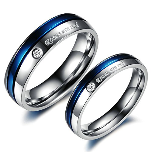 Rose Morgan Pearl (Aooaz Wedding Rings Wedding Rings For Her And Him Blue Silver Rose Red Cubic Zirconia Rings Free Engraving Womens 6 & Men 7 Novelty Jewelry Gift)