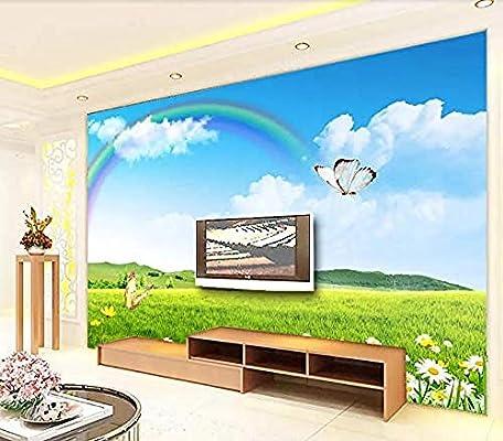 Pleasant Amaomn Murals Wallpaper 3D Effect Green Meadow Rainbow Tv Frankydiablos Diy Chair Ideas Frankydiabloscom