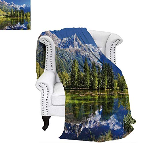 """Summer Quilt Comforter Snowy Mountains Evergreen Spruce Reflected in Lake City Park Chamonix France Digital Printing Blanket 62""""x60"""" Blue Green White"""