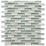 Box 10 Tiles White Marble & Glass Mosaic Tile 12''x12'' ROMA-MX012 (10)