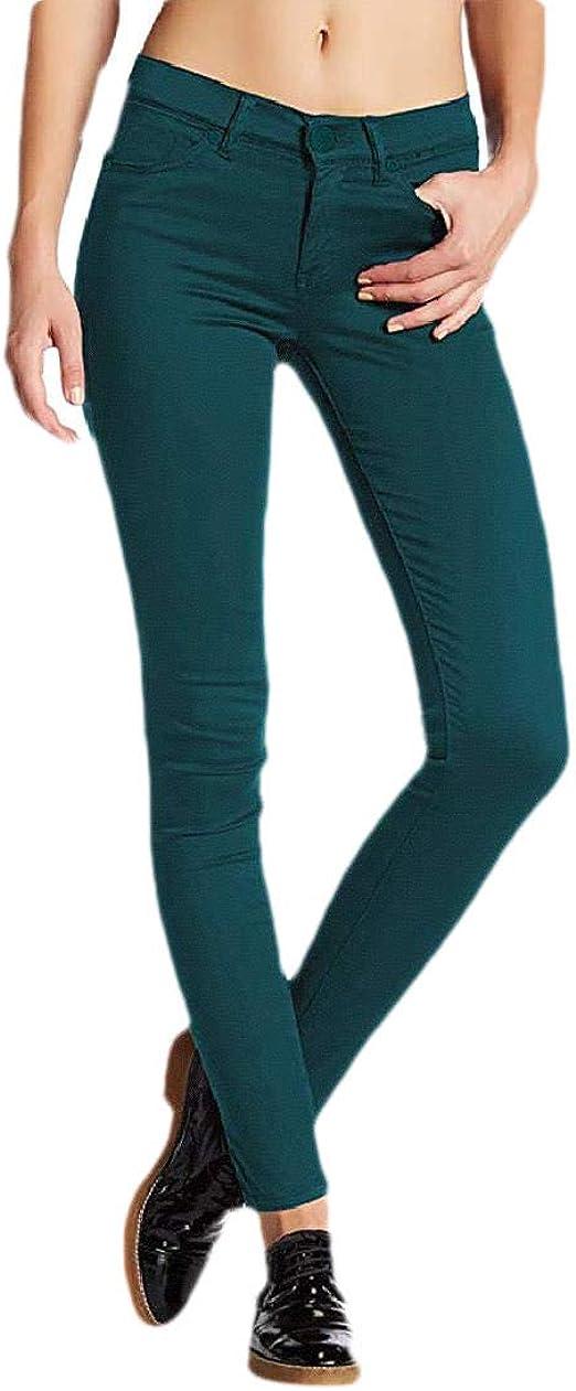 YAXINHE 女性トリムフィットポケットウォッシュミッドウエストストレッチ秋冬のジーンズ