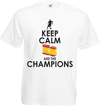 lepni.me Camisetas Hombre Españoles Son los campeones, Campeonato de Rusia 2018, Copa del Mundo - Equipo del fútbol de Camisa del admirador de España: Amazon.es: Ropa y accesorios