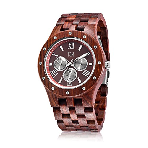 TJW Mens Natural Wooden Watches Day Date Analog Quartz Handmade Casual Wrist Watch 8010-2M(red) Gift
