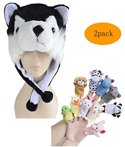 Black Boy Puppet (Pulama Funny Anime Winter Hats for Boys/Girls, with 10pcs Animals Finger Puppets Toy (Black)