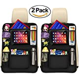 """Luxury Kick Mats,Premium Car Back Seat Protector Organizer With Tablet Holder for Ipad & Android Tablets up to 10.5"""" By Vouska (2 Pack),Updated Version"""