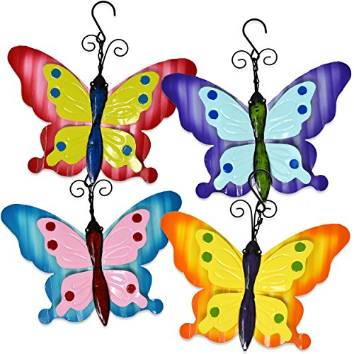 Gift Boutique Butterfly Metal Wall Art Garden Hanging Decorative Sculpture for Spring Summer Nature Inspired Yard Porch Fence Home Outdoor Patio Decoration Set of 4 (Butterfly Metal Garden Ornaments)