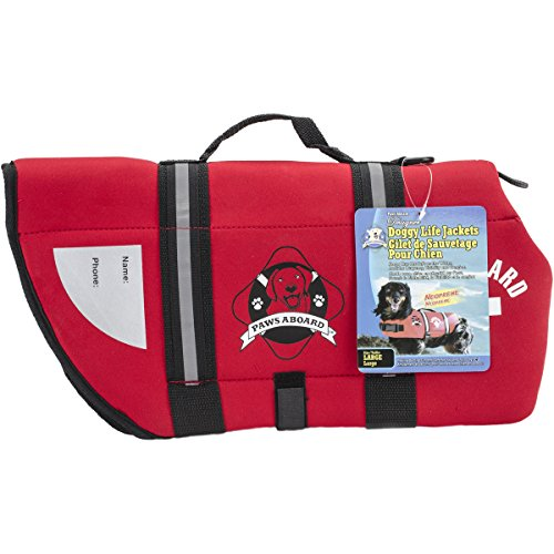 Paws Aboard Neoprene Doggy Life Jacket Large-Red by Fido Pet Products