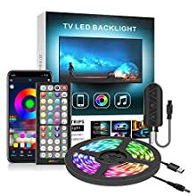 LED Lights for TV 43''-55'' 13ft, Nexillumi TV LED Backlight with Remote Music Sync App Control Color Changing RGB LED Strip Lights USB Powered(9.8Ft + 3.2Ft Wires APP Control+ Remote+ Mic)