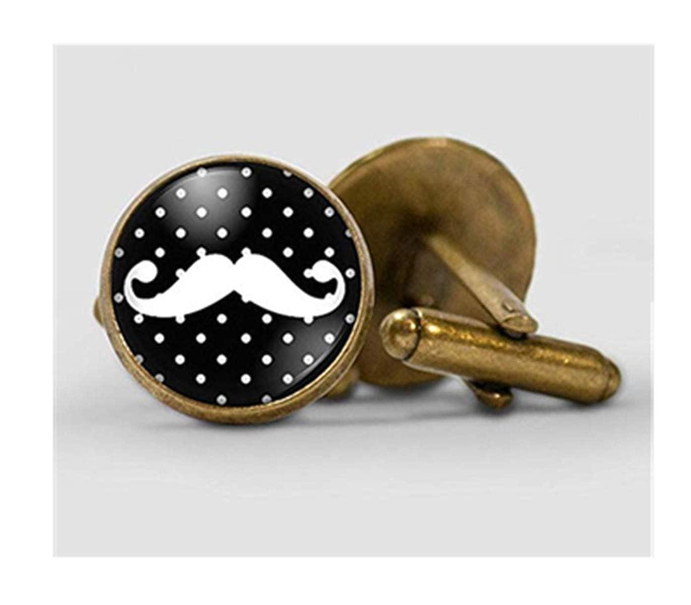 We are Forever Famille Moustache Homme Boutons de Manchette, Accessoires, pour Homme Noir et Blanc Boutons de Manchette, dôme en Verre Bijoux, Pure, Faite à la Main.