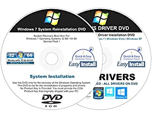 Windows 7 (SP1) All-In-1 32 & 64 bit Reinstall Install DVD Disc Home Basic Premium Professional Ultimate - 2018 Universal Driver Install Disc - No Internet Needed - 2 Disc Installation Kit