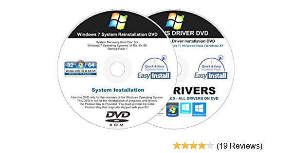 Windows 7 (SP1) All-In-1 32 & 64 bit Reinstall Install DVD Disc Home Basic  Premium Professional Ultimate - 2018 Universal Driver Install Disc - No