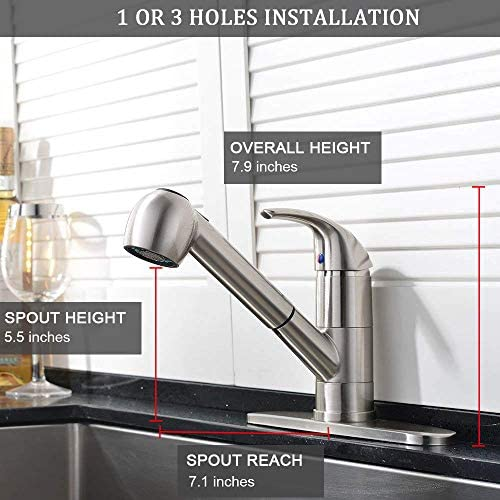 Ufaucet Modern Best Commercial Cen Brushed Nickel Stainless Steel Single Lever Single Handle Pull Out Sprayer Prep Kitchen Sink Faucets,Brushed Nickel Finished