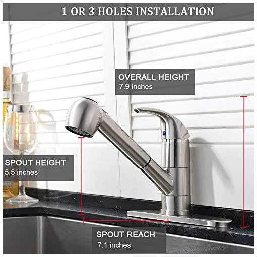 Kitchen Ufaucet Modern Best Commercial Cen Brushed Nickel Stainless Steel Single Lever Single Handle Pull Out Sprayer Prep… modern sink faucets